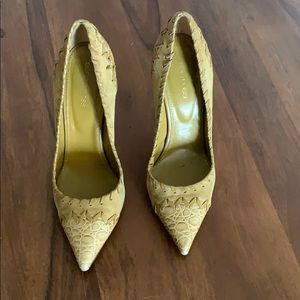 Sergio Rossi yellow patchwork pumps